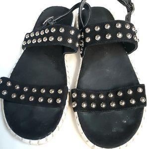 STEVEN Women's Black Sandal Stud Straps